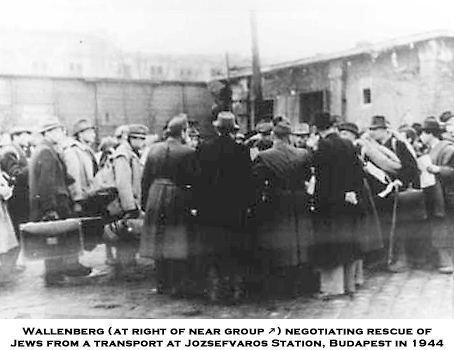 Wallenberg negotiating rescue of Jews from a transport at Jozsefvaros Station, Budapest, 1944